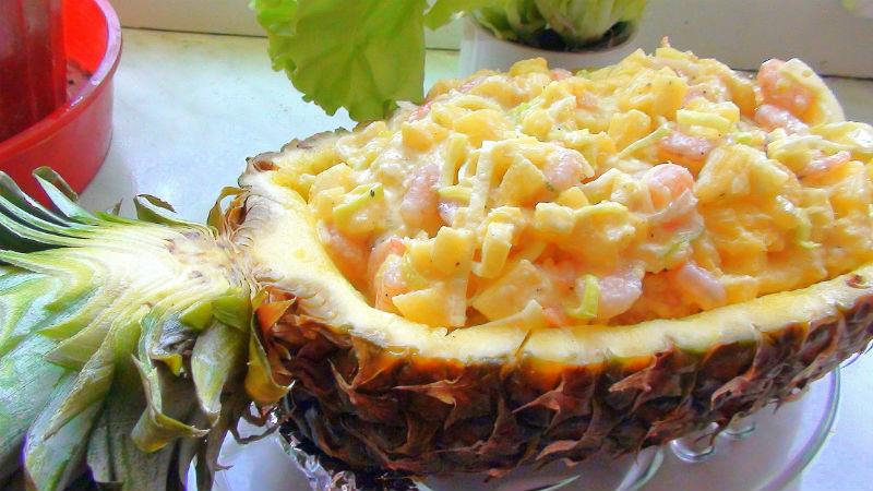 Готовим праздничный крабовый салат с ананасом